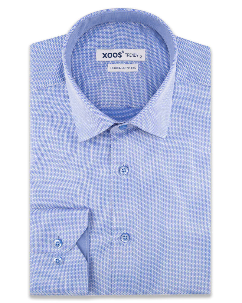 XOOS Men's blue fitted dress shirt (Woven Double Twisted Cotton)