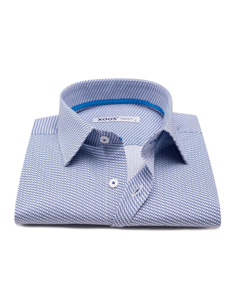 XOOS Men's blue circle prints dress shirt