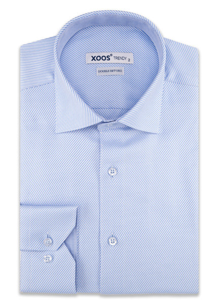 XOOS Men's blue fitted pinsstriped dress shirt (Double Twisted)