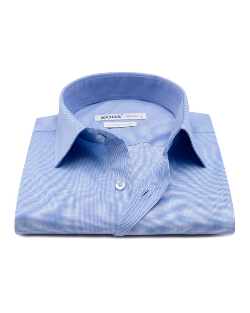XOOS Men's blue Twill cotton dress shirt (Double Twisted)