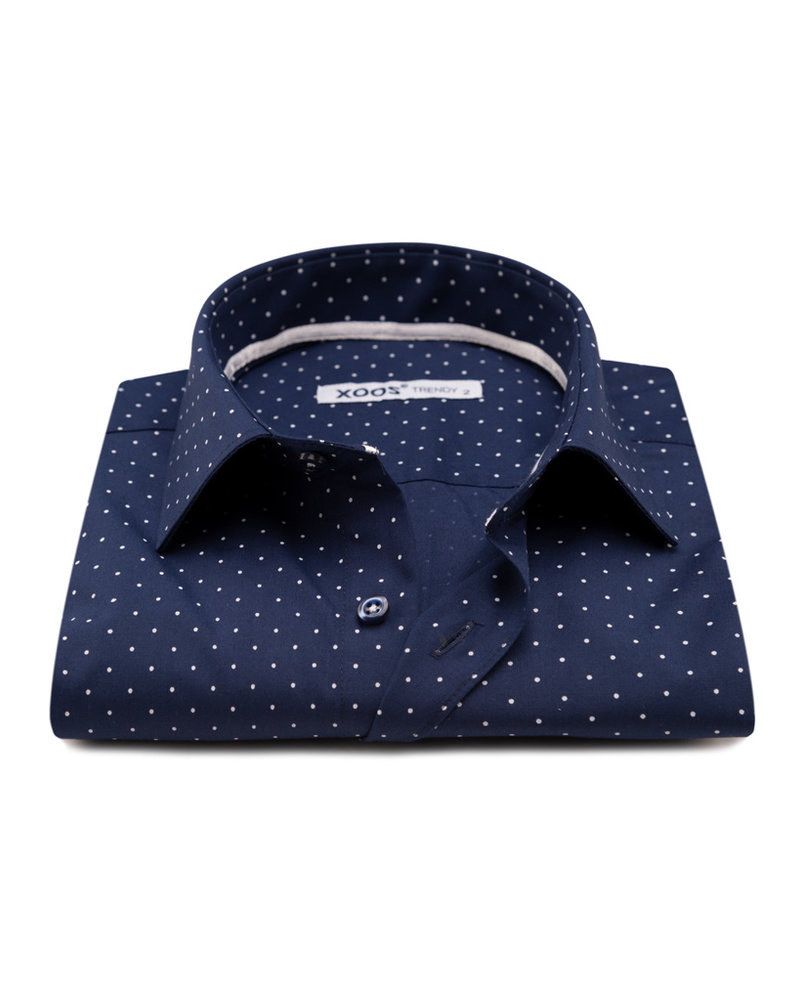 XOOS Men's navy dress shirt white micro polka dot print
