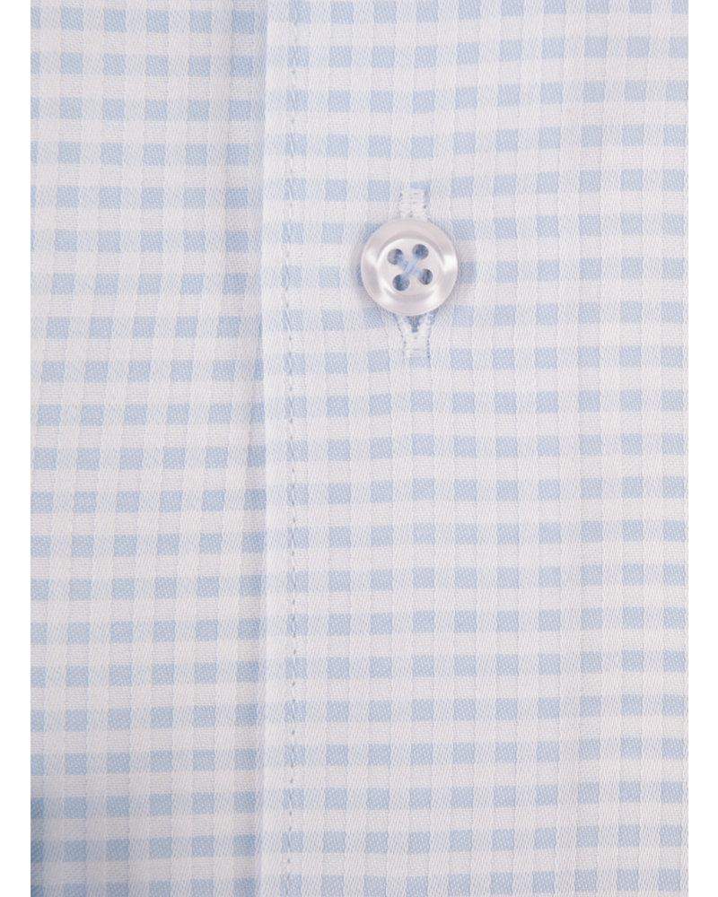 XOOS Men's light blue checkered dress shirt blue lining (Double Twisted)