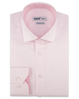 XOOS Men's pink checkered dress shirt pink lining (Double Twisted)
