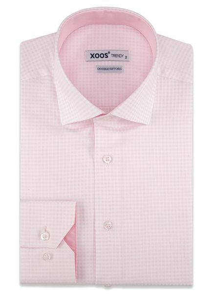 XOOS Chemise homme rose à petits carreaux doublure rose (Double Retors)