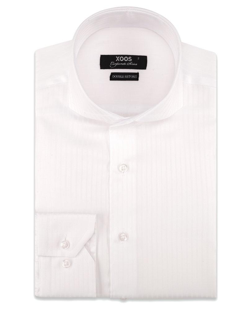 XOOS Men's white  herringbone patterns Full Spread collar dress shirt (Double Twisted)