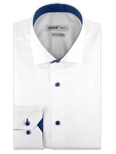 XOOS Men's white dress shirt with blue buttons and polka dots lining (Double Twisted)