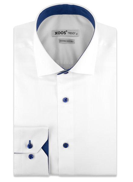 XOOS Chemise homme blanche boutons et doublure à micro pois bleus (Double Retors)