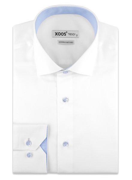 XOOS Chemise homme blanche boutons et doublure à micro pois bleu ciel (Double Retors)
