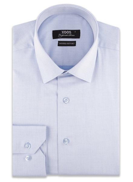 XOOS Chemise homme bleu ciel en gabardine de coton (Double Retors)