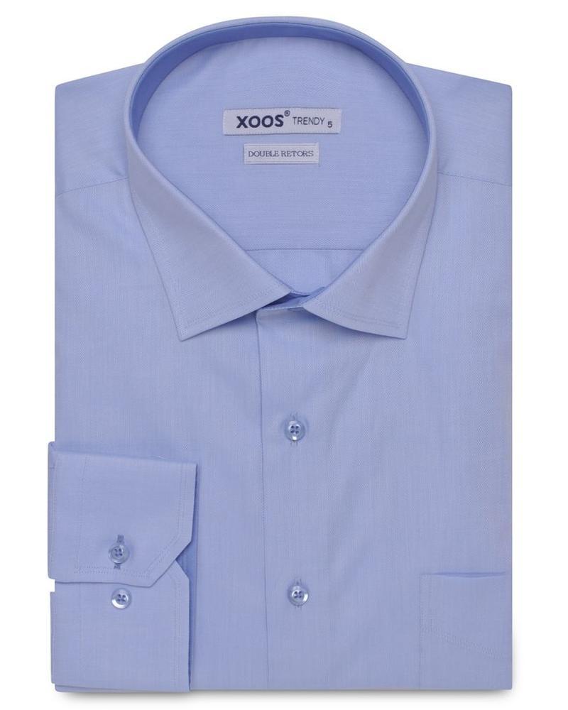 XOOS Chemise NCLASSIC-FIT light blue woven cotton shirt (Double Twisted)ON CINTRÉE ciel en coton tissé (Double Retors)