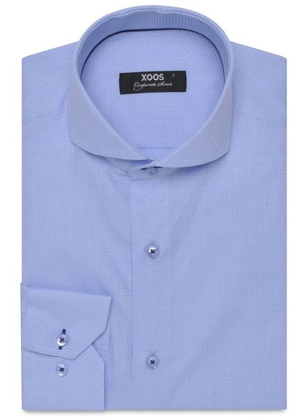 XOOS CLASSIC-FIT light blue Jacquard dress shirt