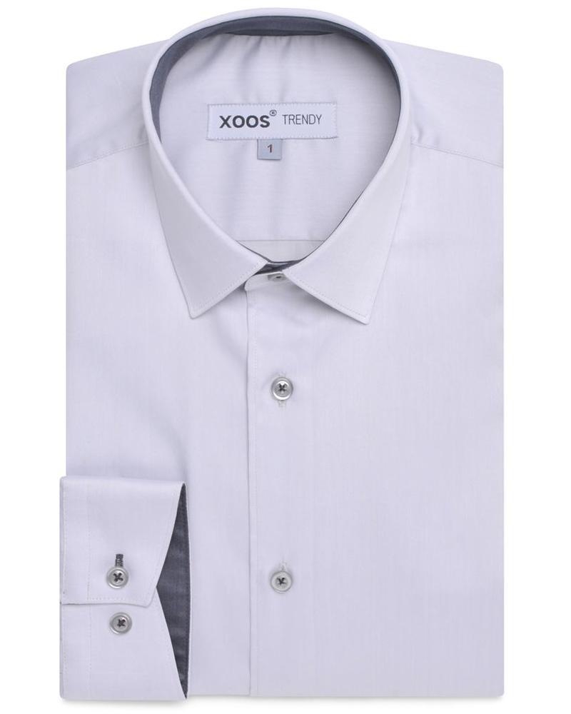 XOOS CLASSIC-FIT light gray dress shirt dark gray lining