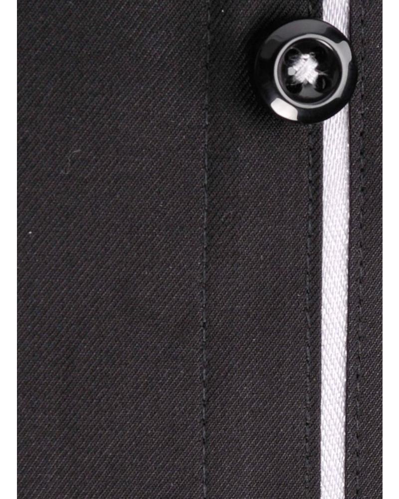 XOOS Black men's dress shirt light gray lining