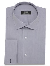 XOOS Navy blue striped men's french cuffs dress shirt