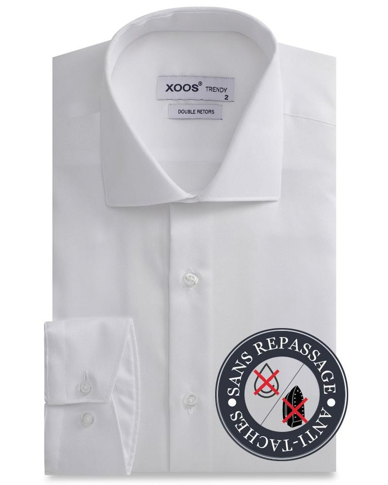 XOOS CLASSIC-FIT white men's dress shirt Gabardeen cotton - NON IRON AND STAIN FREE (NANOCARE)