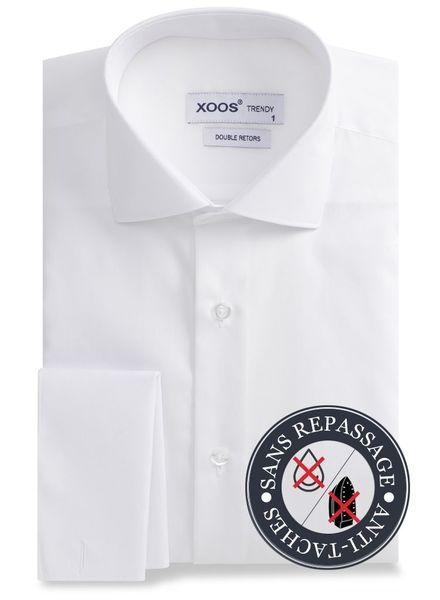 XOOS Chemise homme cintrée blanche à poignets Mousquetaire - SANS REPASSAGE - ANTI-TACHES (NANOCARE)