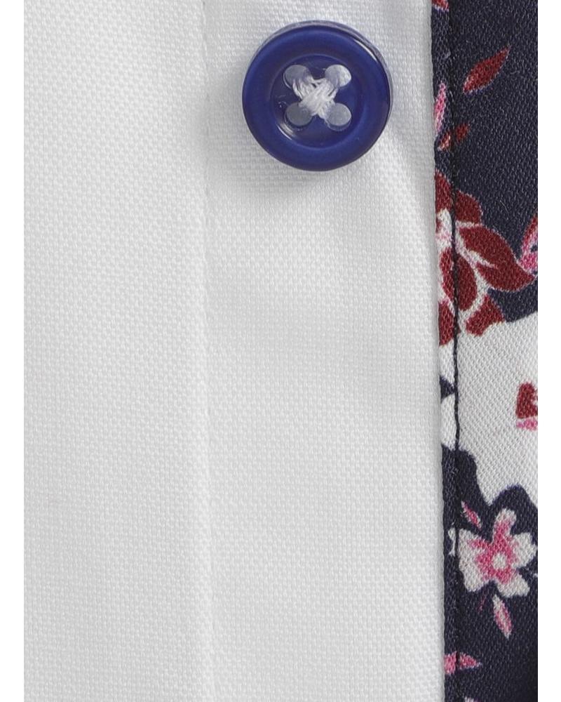 XOOS Chemise NON CINTRÉE blanche doublure navy à fleurs roses (Double Retors)