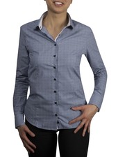 XOOS WOMEN navy micro gingham and patterned dress-shirt