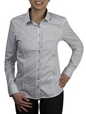 XOOS WOMEN navy blue polka dots dress-shirt