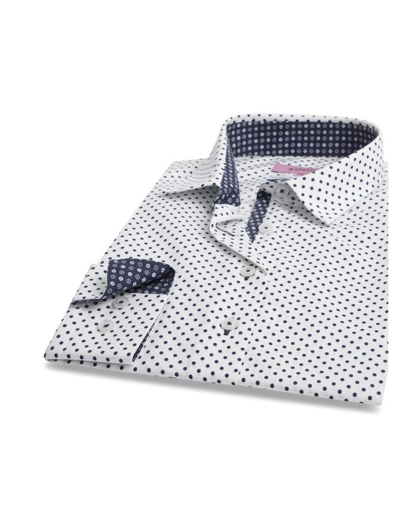 XOOS WOMEN navy blue polka dots dress-shirt