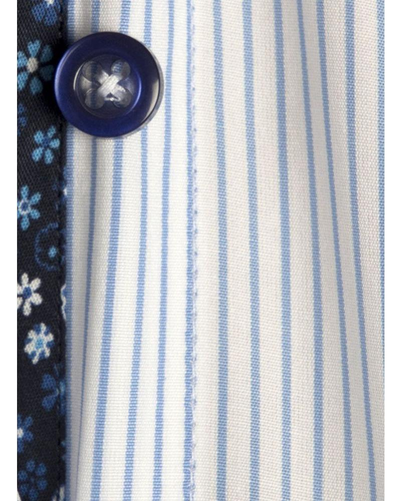 XOOS WOMEN Blue striped dress-shirt flowers lining and coulored buttonholes