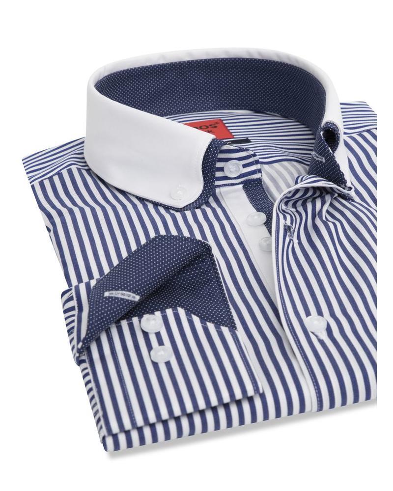 XOOS Blue striped financial shirt double collar