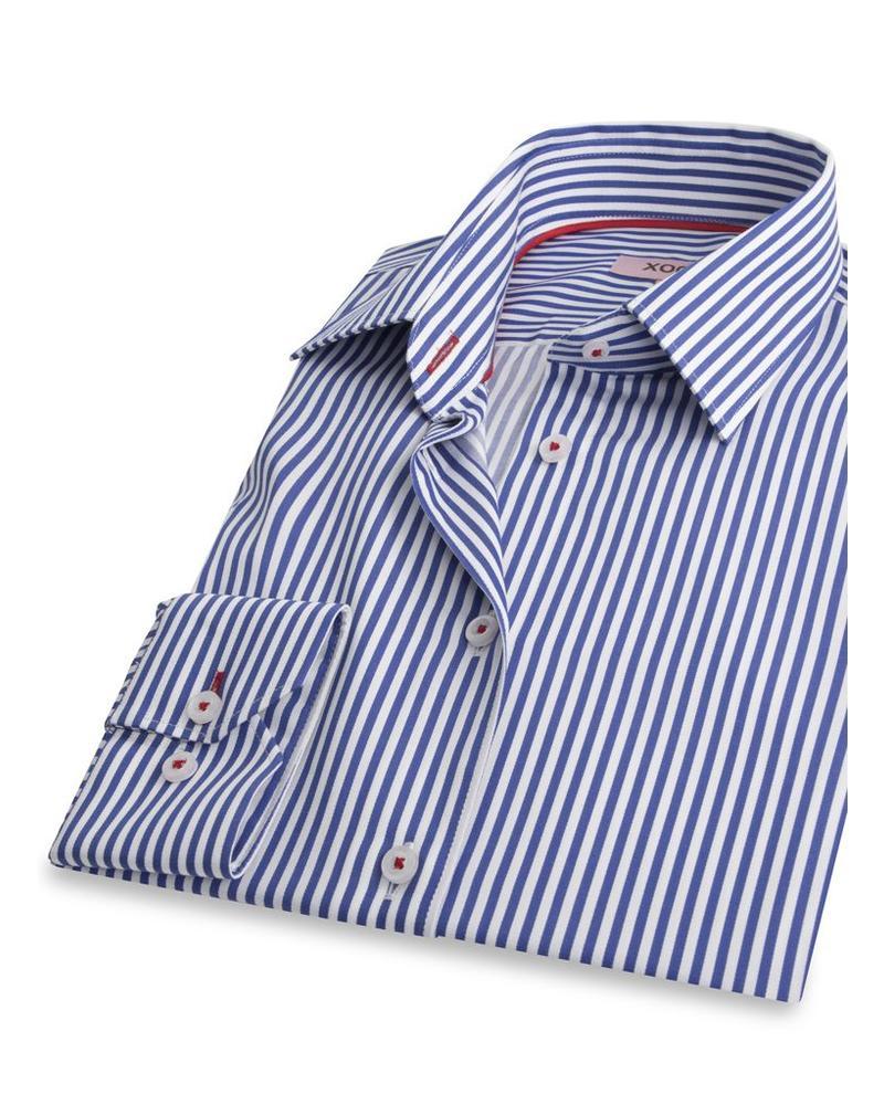 XOOS WOMEN Royal blue striped dress-shirt Rred braid