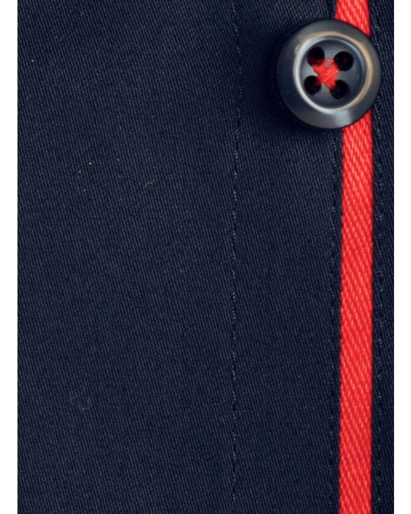 XOOS Chemise homme cintrée bleu marine à galon rouge