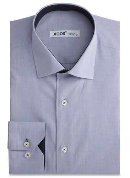 XOOS Fine navy Checkered men's fitted dress shirt