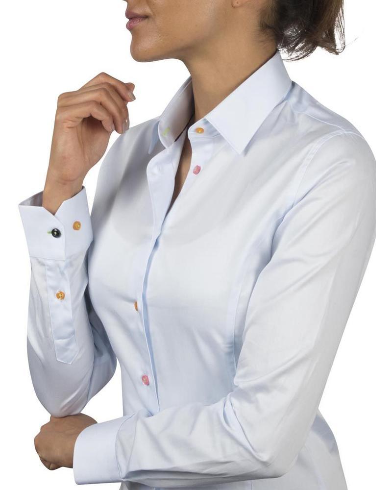 XOOS Chemisier femme bleu diamant galon à fleurs et boutons colorés