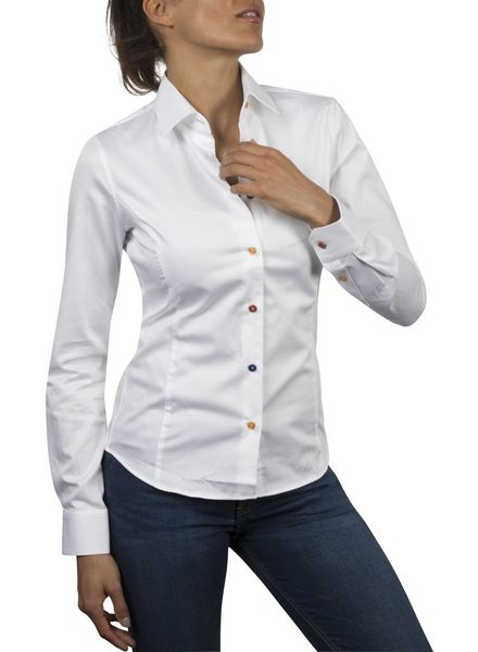 XOOS WOMEN white shirt orange floral lining and colored buttons