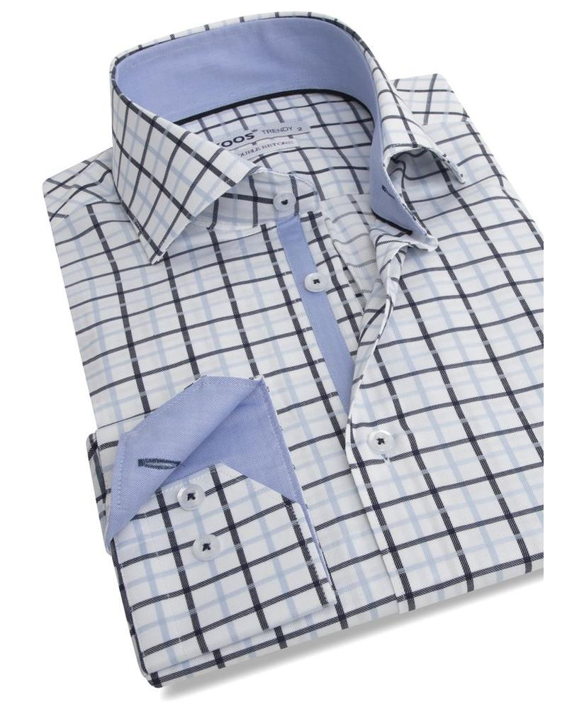 XOOS Chemise homme cintrée bleue à carreaux navy (Double Retors)