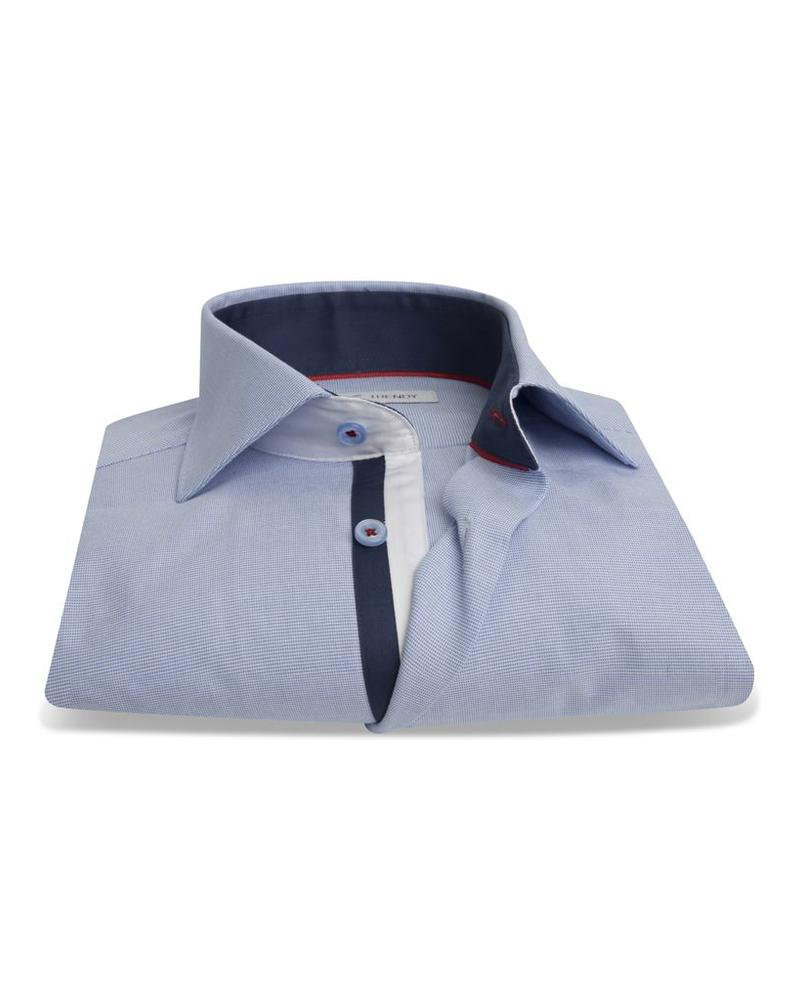 XOOS Men's blue fitted pinstriped dress shirt navy braid