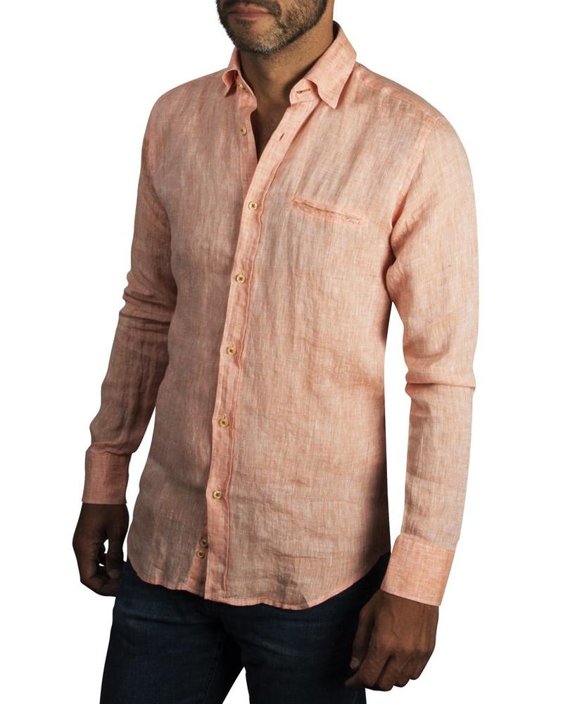 XOOS Men's fitted orange linen shirt