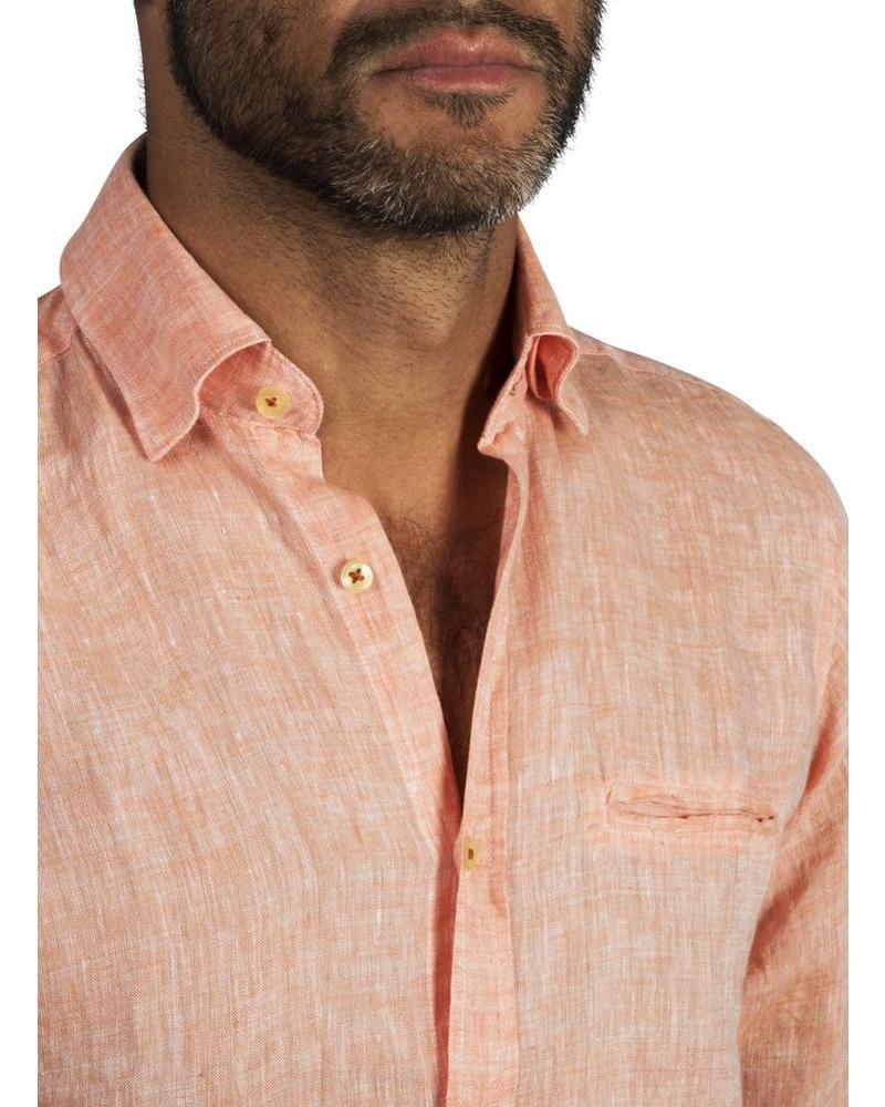 XOOS Chemise homme cintrée en lin orange galon rouge