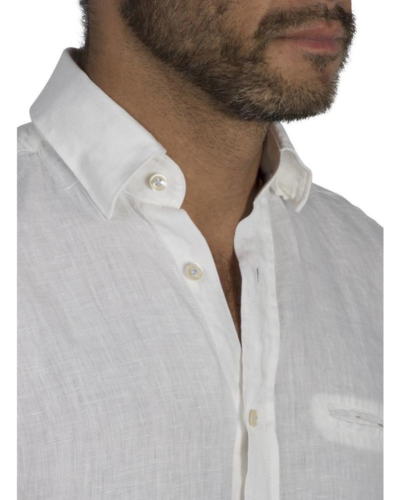 XOOS Men's fitted white linen shirt