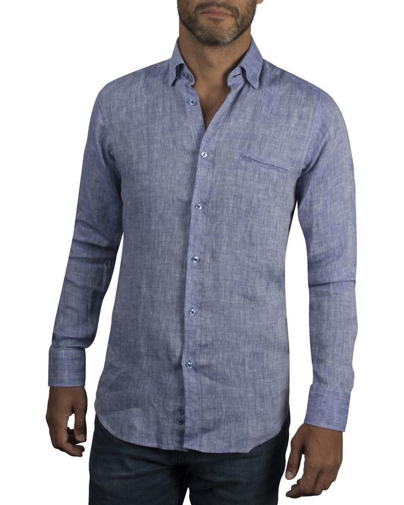 XOOS Men's fitted blue linen shirt