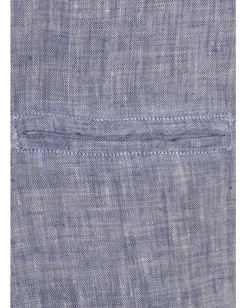 XOOS Chemise en lin bleu galon marine