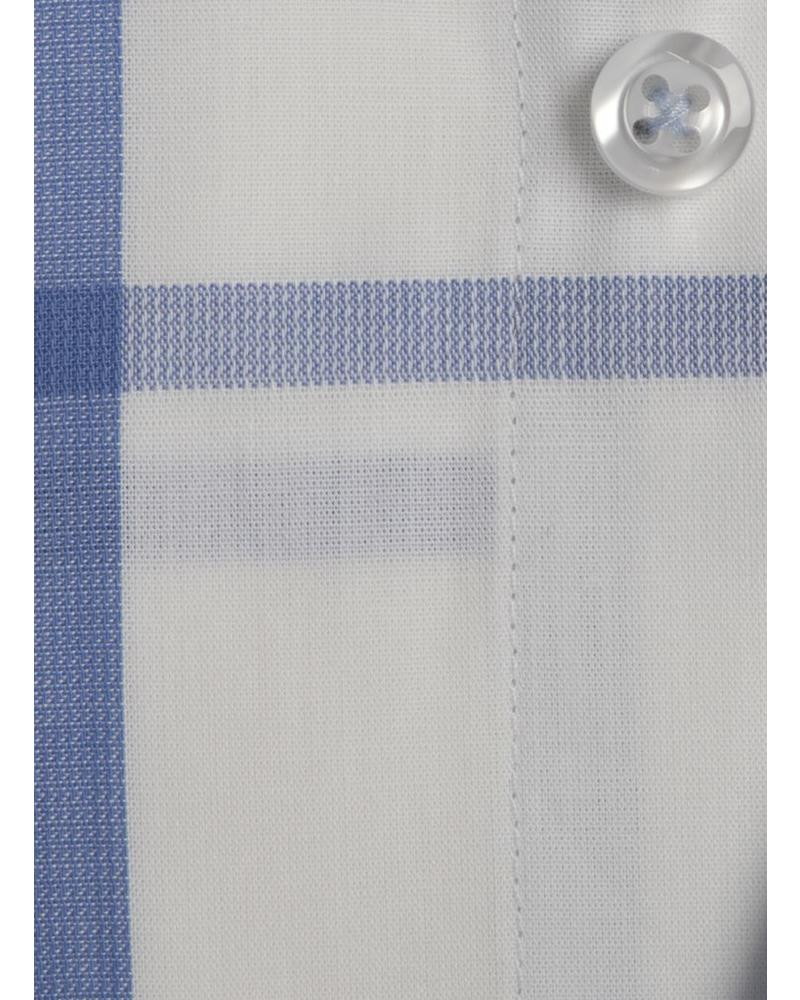 XOOS Men's white dress shirt light blue checks