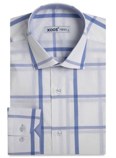 XOOS Men's white dress shirt light blue checks