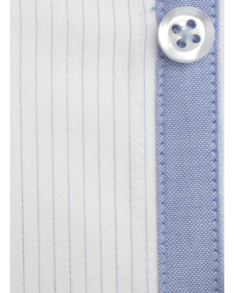 XOOS Sky blue striped and fitted dress shirt for men