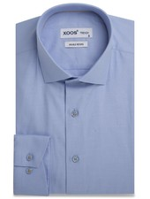 XOOS Blue fitted dress shirt for men orange lining (Double twisted)