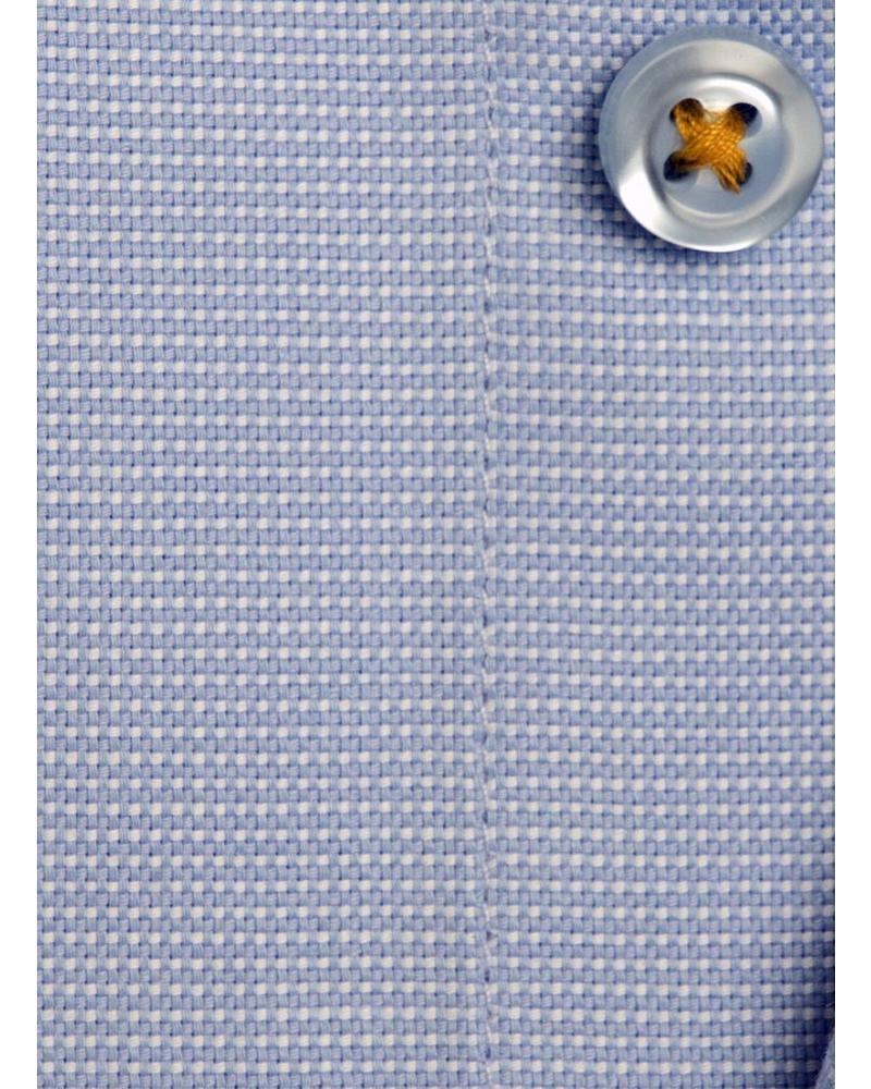 XOOS Chemise homme cintrée en fil à fil bleu galon orange (Double Retors)
