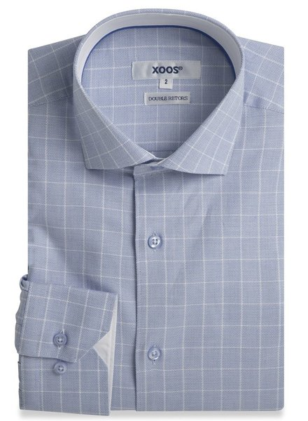 XOOS Blue checkered fitted dress shirt with blue lining (Double Twisted)