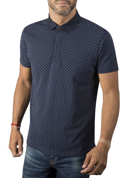 XOOS Navy blue polka dots polo shirt for men