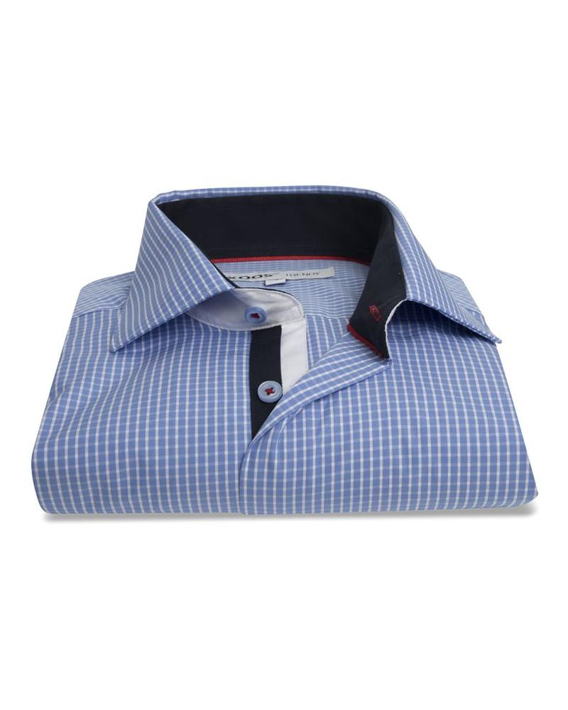 XOOS Men's blue checkered dress shirt white collar stand and navy braid