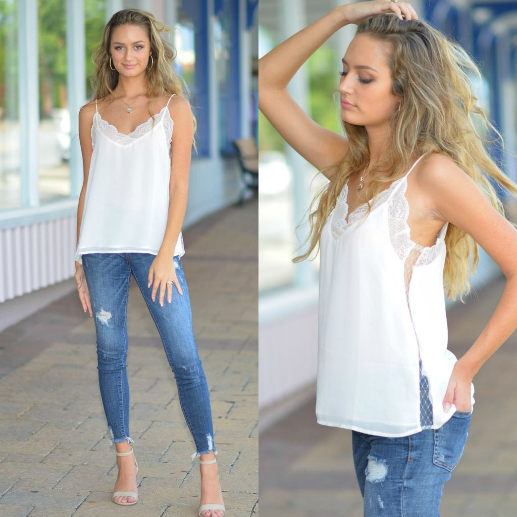 Tops 66 Lace Ivory Cami Top