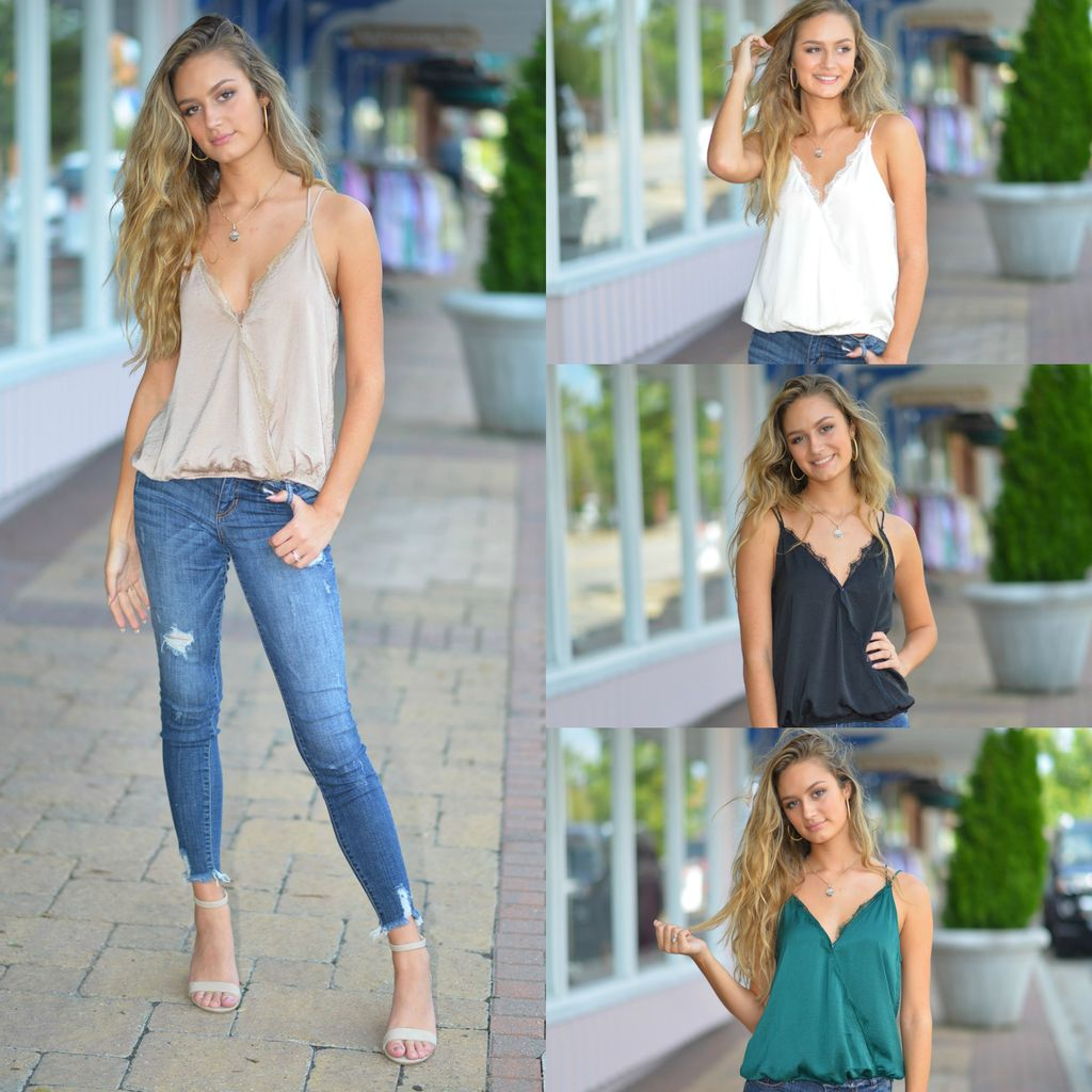 Tops 66 Eye Lash Lace Cami Tops