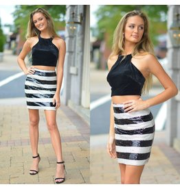 Formalwear Velvet & Sequin Black Two Piece