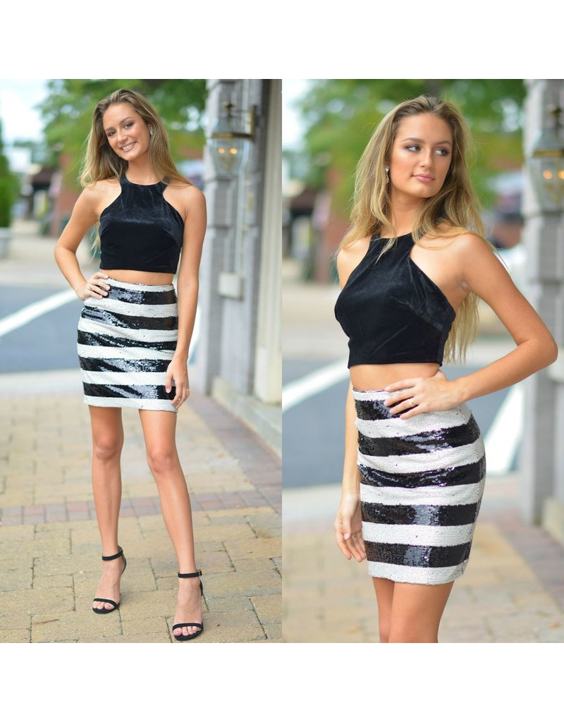 Formalwear Velvet & Sequin Black Two Piece